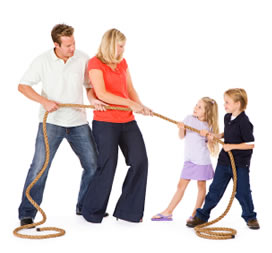 children-parent-tug-of-war